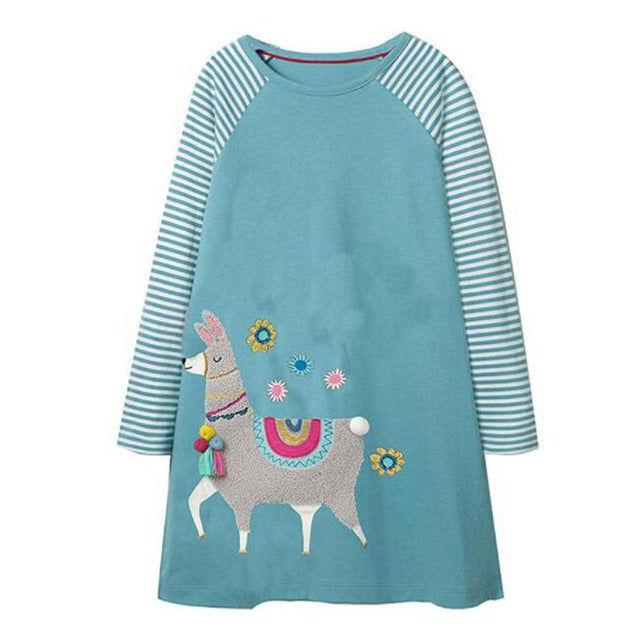 Long Sleeve Llama Applique Dress