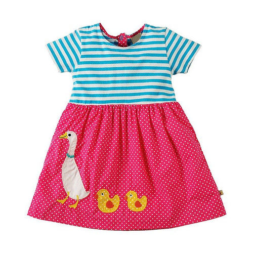 Short Sleeve Little Pet Applique Dress