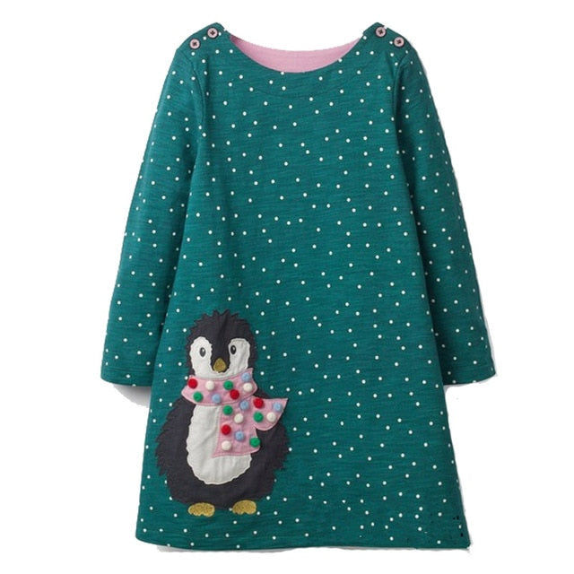 Long Sleeve Penguin Applique Dress