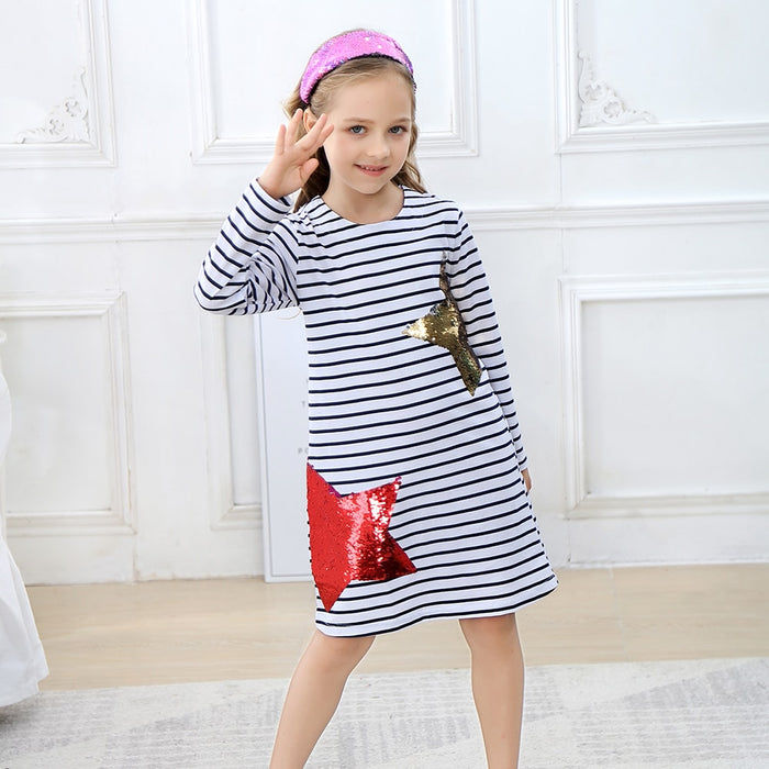 Long Sleeve Reversible Sequin Star Dress