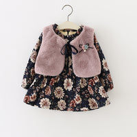 Floral Winter Dress with Fur Vest