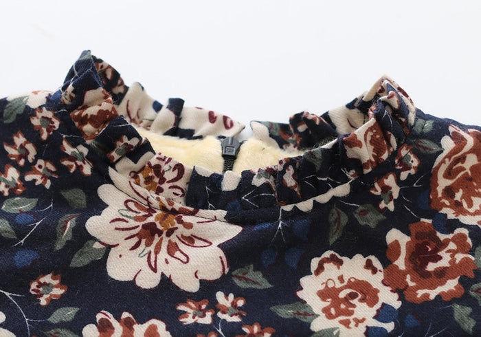 Floral Winter Dress with Fur Vest
