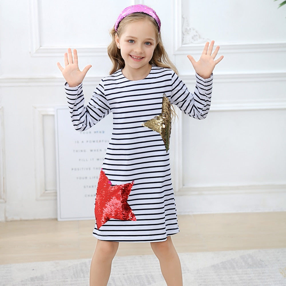 Long Sleeve Reversible Sequin Star Dress