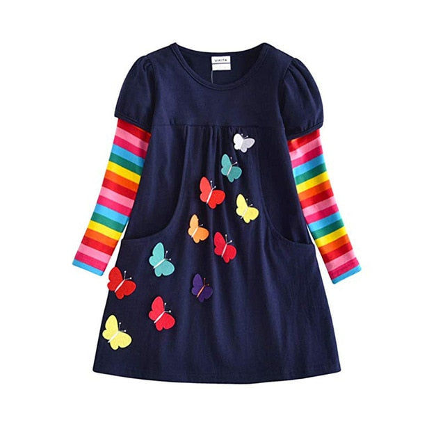 Long Sleeve Butterfly Rainbow Dress