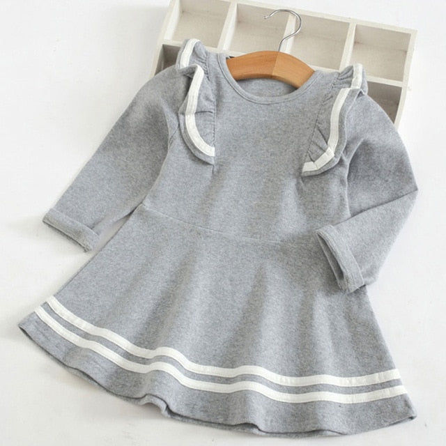 Solid Stripe Ruffle Shoulder Dress