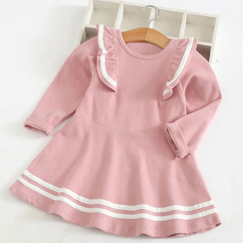 Solid Stripe Ruffle Shoulder Dress