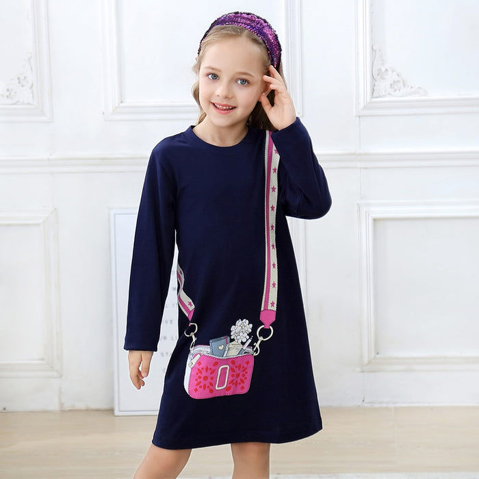 Long Sleeve Shoulder Bag Dress