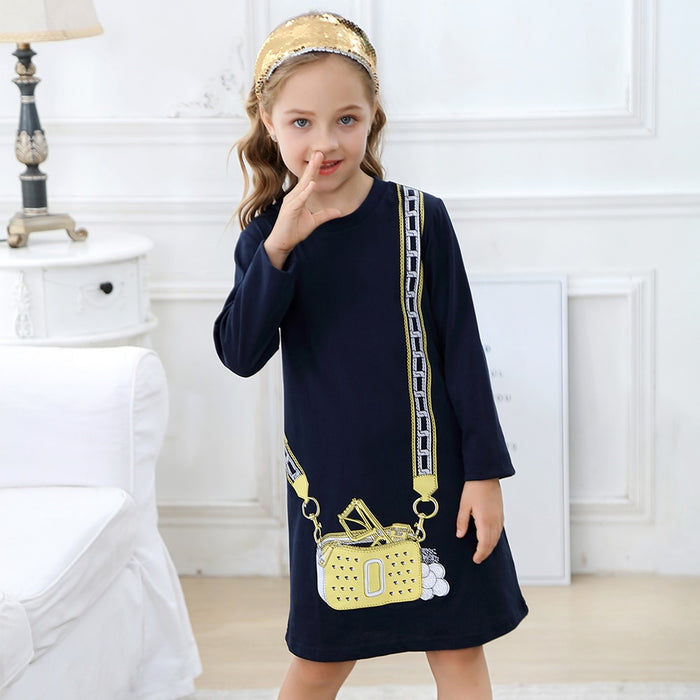 Long Sleeve Shoulder Bag Dress