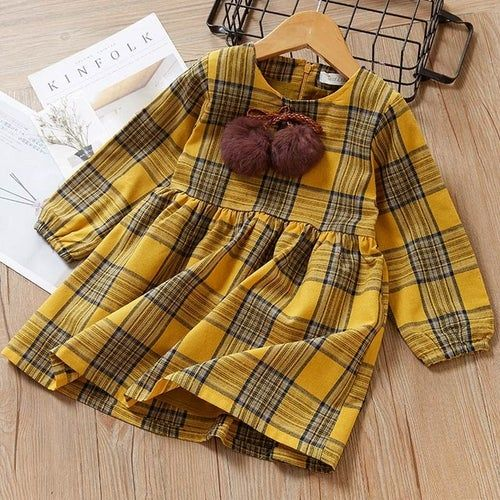 Plaid Pom Pom Dress
