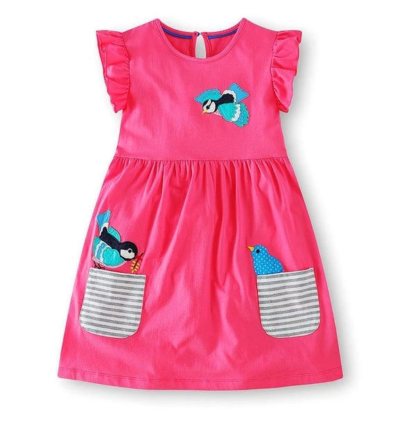 Ruffle Sleeve Blue Jay Dress