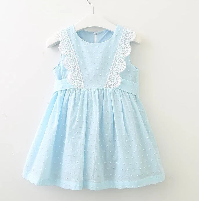 Lace Front Dot Dress
