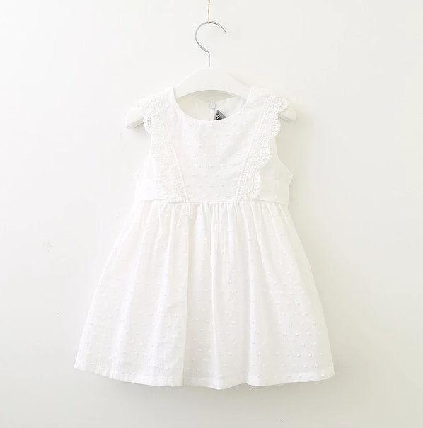 Lace Front Dot Dress