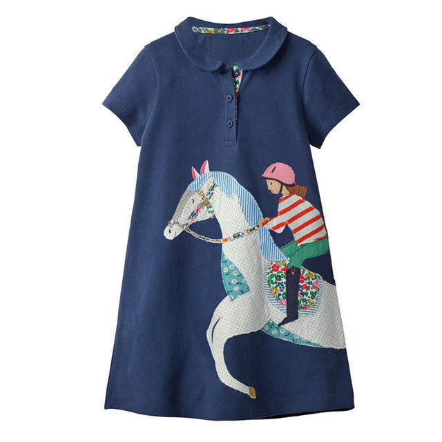Short Sleeve Horse and Rider Polo Dress