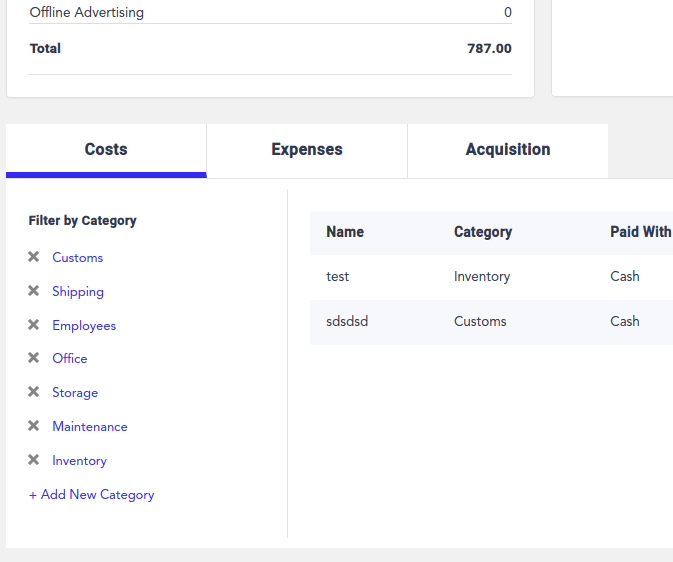 WooCommerce expense categories