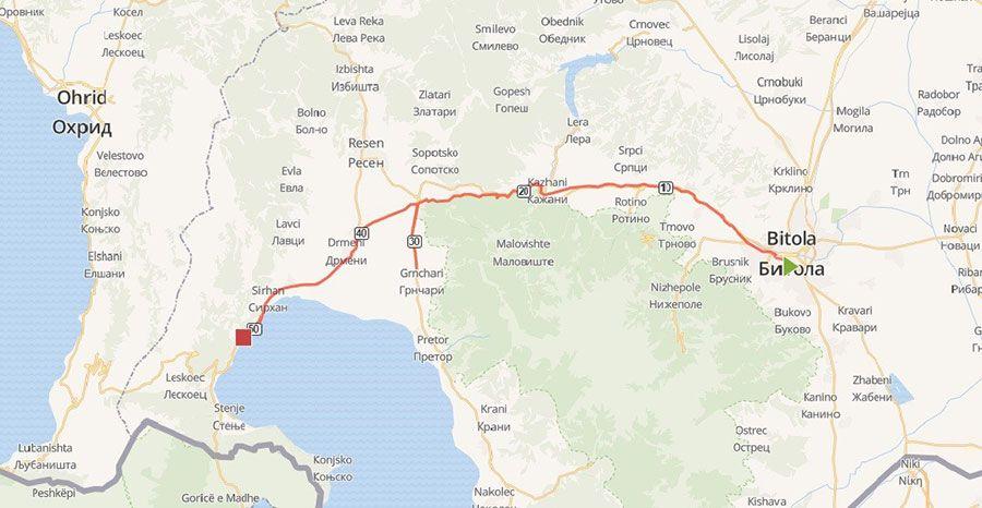 tours/bitola prespa map