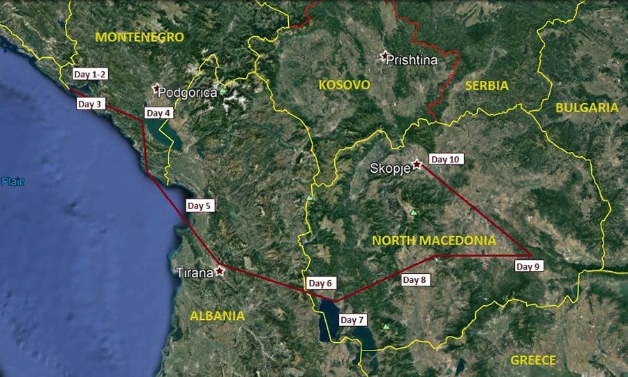 tours/map MULTI ADVENTURE MONTENEGRO TO MACEDONIA