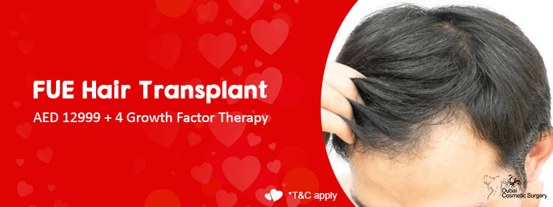 FUE Hair Transplant o AED 12999 + 4 Growth Factor Therapy offer