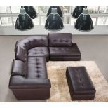 ✅ 397 Italian Leather Sectional Right Hand Facing in Chocolate | VivaSalotti.com | pic1