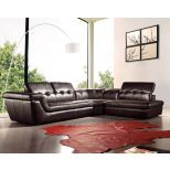 ✅ 397 Italian Leather Sectional Right Hand Facing in Chocolate | VivaSalotti.com | pic