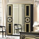 ✅ Aida Classic Four Door Wardrobe by ESF, Black and Gold | VivaSalotti.com | pic8