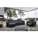 ✅ Allegra Premium Leather Left Hand Facing Sectional, Slate Grey | VivaSalotti.com | pic9