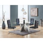 ✅ D2056DT Dining Table, Clear/Stainless Steel | VivaSalotti.com | pic2