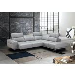 ✅ Davenport Leather Right Hand Facing Sectional, Light Grey | VivaSalotti.com | pic5