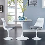 "✅ Lippa 28"" Square Wood Top Dining Table (White) 