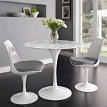 "✅ Lippa 36"" Round Artificial Marble Dining Table (White) 