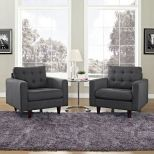 ✅ Empress Armchair Upholstered Fabric Set of 2 (Gray) | VivaSalotti.com | pic