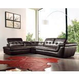 ✅ 397 Italian Leather Left Hand Facing Sectional, Chocolate | VivaSalotti.com | pic
