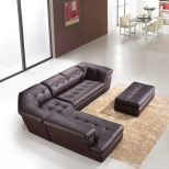 ✅ 397 Italian Leather Left Hand Facing Sectional, Chocolate | VivaSalotti.com | pic1