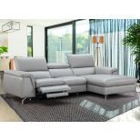 ✅ Serena Premium Reclining Leather Right Hand Facing Sectional, Light Grey | VivaSalotti.com | pic3