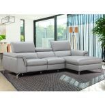 ✅ Serena Premium Reclining Leather Right Hand Facing Sectional, Light Grey | VivaSalotti.com | pic2