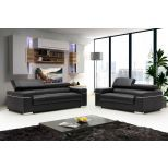✅ Soho Leather Sofa Set, Black | VivaSalotti.com | pic1