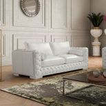 ✅ Vanity Leather Loveseat, White | VivaSalotti.com | pic