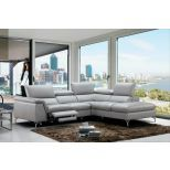 ✅ Viola Premium Leather Right Hand Facing Sectional, Light Grey | VivaSalotti.com | pic4