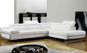 Beverly Hills Bart Right Sectional Sofa White Leatherette