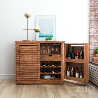 Linea Bar Cabinet Walnut