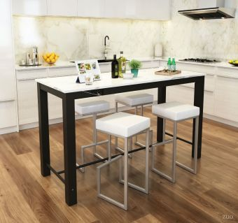 Dawson Bar Table Faux Marble & Matt Blk