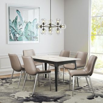 Caden Dining Table Stone & Black