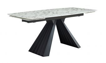 ✅ 152 Marble Rectangular Extendable Dining Table w/Steel Base, White by ESF   VivaSalotti.com   pic8