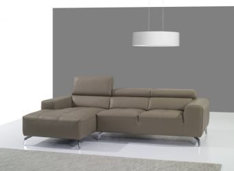 A978B Italian Leather Sectional Left Facing Chaise in Burlywood