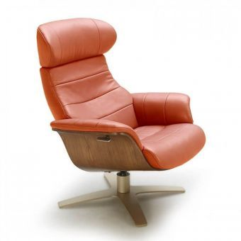 Karma Italian Leather Premium Chair, Pumpkin
