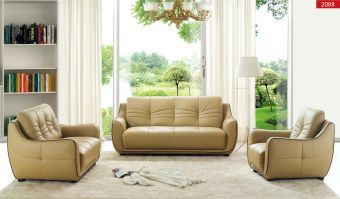 2088 Contemporary Beige Italian Leather Living Room Set by ESF