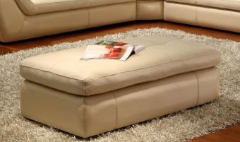 ✅ 397 Italian Leather Ottoman in Beige Color | VivaSalotti.com | pic1