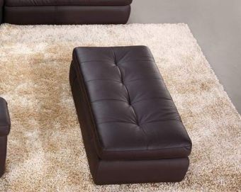 ✅ 397 Italian Leather Ottoman in Chocolate Color | VivaSalotti.com | pic1