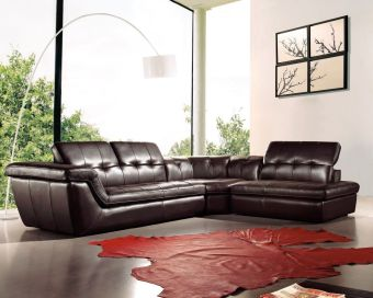 397 Italian Leather Sectional Right Hand Facing in Chocolate