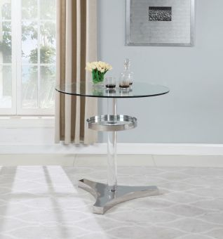 4034 Contemporary Counter Table with Clear Round Glass Top