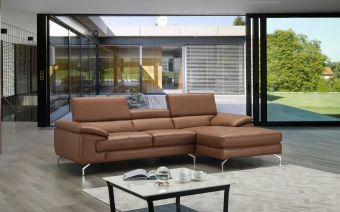 ✅ A973B Italian Leather Mini Sectional Caramel In Right Facing Chaise | VivaSalotti.com | pic